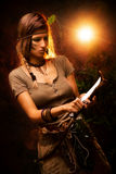 Warrior Woman With Combat Knife Stock Image