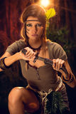Warrior Woman With Combat Knife Royalty Free Stock Photography