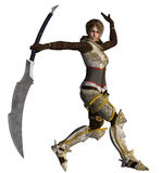 Warrior Woman in Fighting position. A 3D rendered image on an isolated background of a Digital fantasy character for your creations and or projects vector illustration