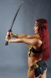 Warrior woman holding sword in her hand. Young warrior woman holding sword in her hand Royalty Free Stock Photos