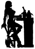 Warrior woman sitting at the bar silhouette Royalty Free Stock Images