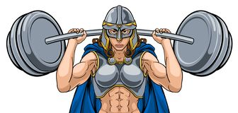 Warrior Woman Weightlifter Lifting Barbell royalty free illustration