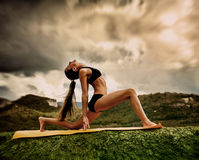 Warrior yoga pose Stock Photo