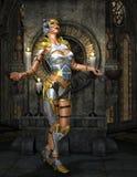 Warrioress in armatura d'argento sul santuario dorato Fotografie Stock