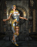 Warrioress in silver armor on golden Shrine Stock Photos
