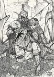 Warriors. An ink sketch of the aftermath of two warriors after a bloody battle Royalty Free Stock Photography