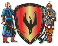 Warriors. Knight warrior coat sword helmet armor armor chain armor ax boots shield coat of arms trident Oseledets forelock Stock Images