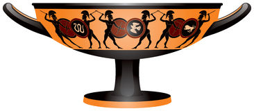 Warriors on the Ancient Greece Kylix drinking cup Royalty Free Stock Image