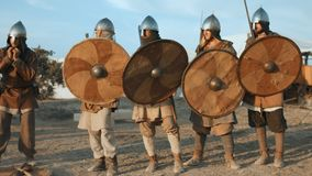 Warriors of Ancient Russia demonstrate the battle scene stock footage