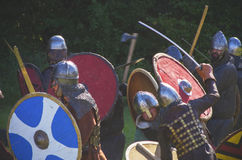Warriors in battle field. Medieval battle show in Kernave, Lithuania stock photo