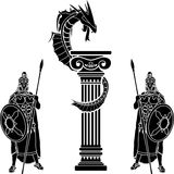 Warriors and dragon Royalty Free Stock Photo