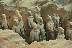 Warriors of the Emperor. China, Xi`an: Archaeological excavations of the clay army of the emperor Qin Shi Huang. The terracotta army is a figure of ancient royalty free stock photography