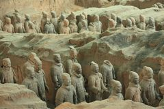 Warriors of Eternity. China, Xi`an: Archaeological excavations of the clay army of the emperor Qin Shi Huang. The terracotta army is a figure of ancient stock photos