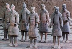 Warriors of famous Terracotta Army in Xian China. Travel background royalty free stock photography