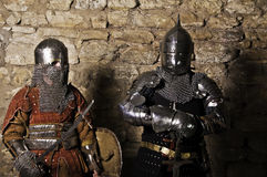 Warriors fighting. Photo of knights who fight Royalty Free Stock Images