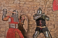 Warriors fighting. Photo of knights who fight Stock Photo