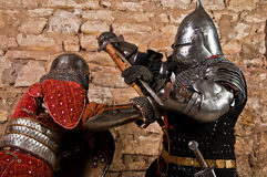 Warriors fighting. Photo of knights who fight Stock Photography