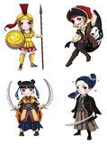 Warriors girl from various culture set 1 Stock Photos