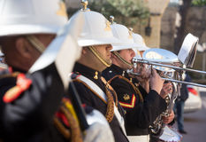 Warriors of the guard of honor. ST. JULIAN`S - MALTA, 30 March 2017: Military band and warriors of the guard of honor during an official meeting of President of Stock Photography