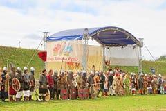 Warriors at historic reconstruction of Kievan Rus', near Kyiv, Ukraine Royalty Free Stock Photos