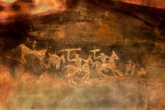 Warriors on Horse Back, Bhimbetka. Sketches of warriors on horseback with swords in their hands drawn by primitive people at Bhimbetka Caves near Bhopal, Madhya stock photos