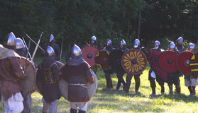 Warriors. Medieval battle show in Kernave, Lithuania royalty free stock photos