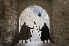 Warriors. Medieval warriors guarding a door royalty free stock photo