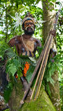 The warriors of a Papuan tribe of Yafi in traditional clothes, ornaments and coloring. New Guinea Island, Stock Photo