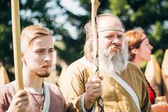 Warriors participants of festival of medieval Royalty Free Stock Photography