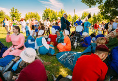 Warriors participants resting in shadow tree of VI festival of m Royalty Free Stock Photo