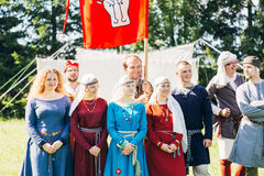 Warriors participants of VI festival of medieval culture Stock Photo