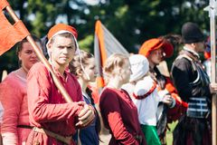 Warriors participants of VI festival of medieval Stock Image