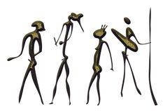 Warriors - primitive art. Primitive figures looks like cave painting - primitive art - warriors Stock Photo