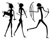 Warriors - primitive art -. Primitive figures looks like cave painting - primitive art - warriors Stock Photo