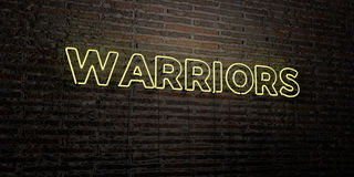 WARRIORS -Realistic Neon Sign on Brick Wall background - 3D rendered royalty free stock image. Can be used for online banner ads and direct mailers Stock Image