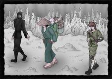 Warriors scene illustration Stock Photo