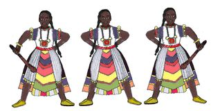 Senegal warriors of the tribes with traditional clothing royalty free stock photo