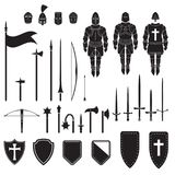 Warriors series - Medieval knights equipment, weapons and armor. Vector. Eps10 Royalty Free Stock Images