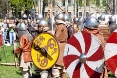 Warriors with shields Stock Photos