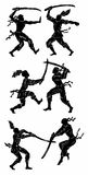 Warriors silhouettes. Three silhouettes of warriors fighting with swords Stock Image