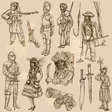 Warriors and Soldiers - Hand drawn vectors Royalty Free Stock Photo