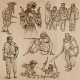 Warriors and Soldiers - Hand drawn vectors Stock Photo