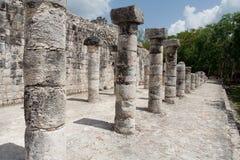 Warriors Temple Chichen Itza Mexico. The columns in the warriors temple complex inside the maya archaeological site of Chichen Itza, Yucatan peninsula, Mexico Stock Photo