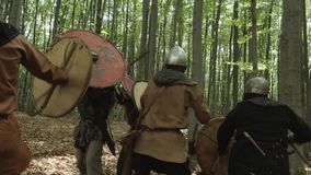 Warriors of Vikings are Fighting during Attack . stock video