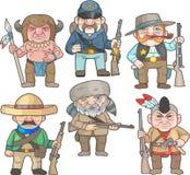 Warriors of the wild west set Stock Photo