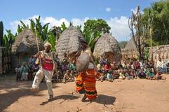 Warrios taniec, Dorze plemię, Ethiopia Obraz Stock