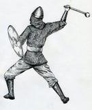 Warriow medieval com um clube Foto de Stock