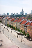 Warsaw. Old Town / Krakow Suburb avenue, distant view on to Palace of Culture and Science / Poland Stock Photography