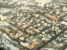 Warsaw, aerial photo. Aerial view of polish city Warsaw stock photography