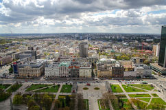 Warsaw aerial view of city center. Aerial view of skyscrapers and modern architecture in Warsaw, Poland. British ambassadory, cloudy day Royalty Free Stock Photography